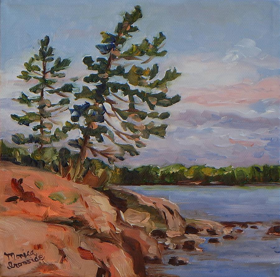 Landscape Painting - Leaning Pine At Dusk by Monica Ironside