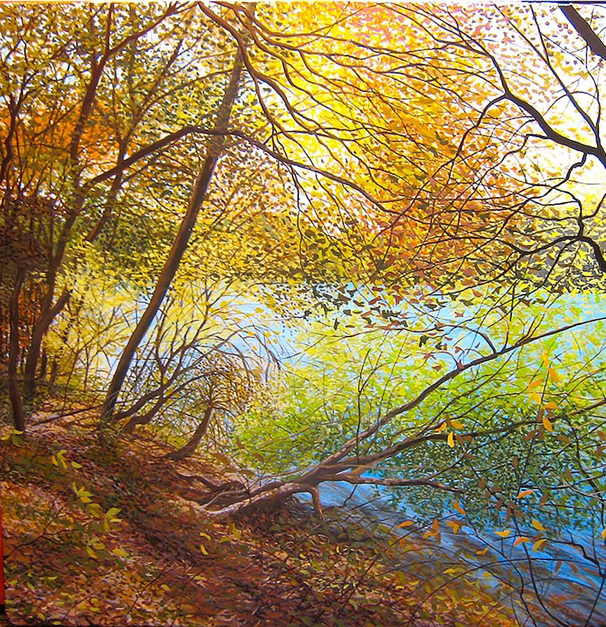 Reflections Painting - Leaning Toward Autumn by David Bottini