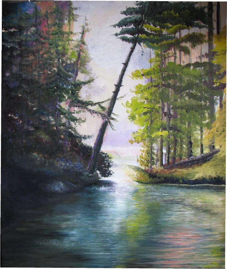 Leaning Tree Lake George Painting by Elizabeth D Nelson