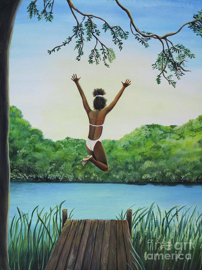Summer Vacation Painting - Leap Of Faith by Kris Crollard