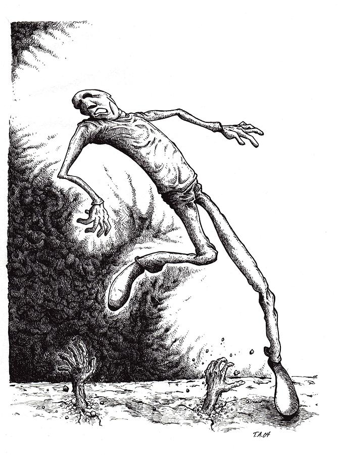 Black And White Drawing - Leap by Tobey Anderson