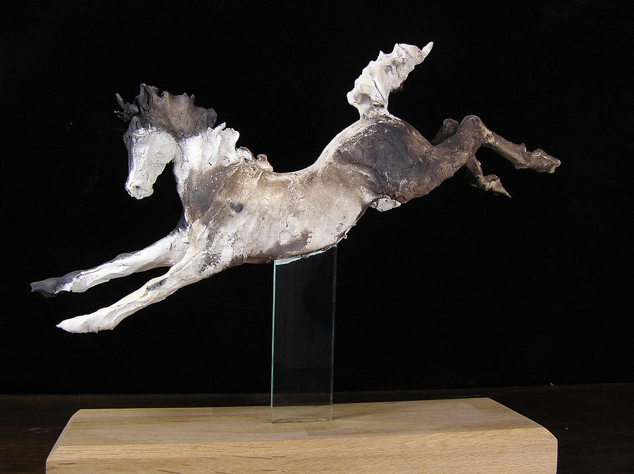 Horse Sculpture - Leaping Smoke Fired Horse by April Young