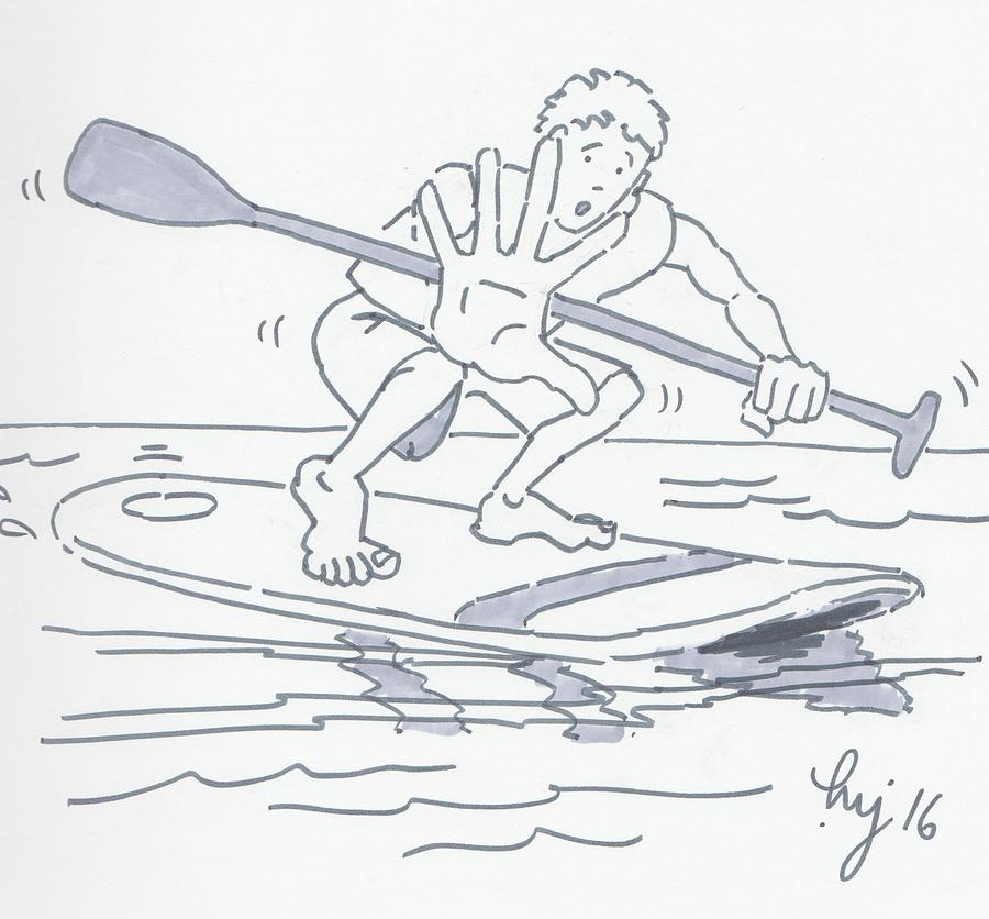 Learning To Paddle Board Cartoon Drawing By Mike Jory