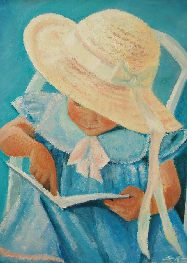 Lisa Painting - Learning To Read by Lisa Konkol