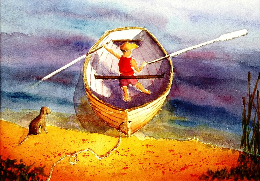 Child Painting - Learning To Row by Buster Dight