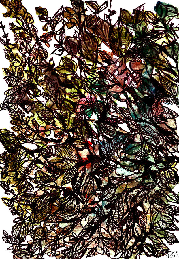 Watercolour And Ink Painting - Leaves Hidden Everywhere by Garima Srivastava
