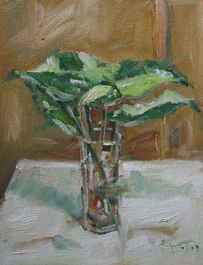 Still Life Painting Painting - Leaves In A Tall Glass by Owen Hunt