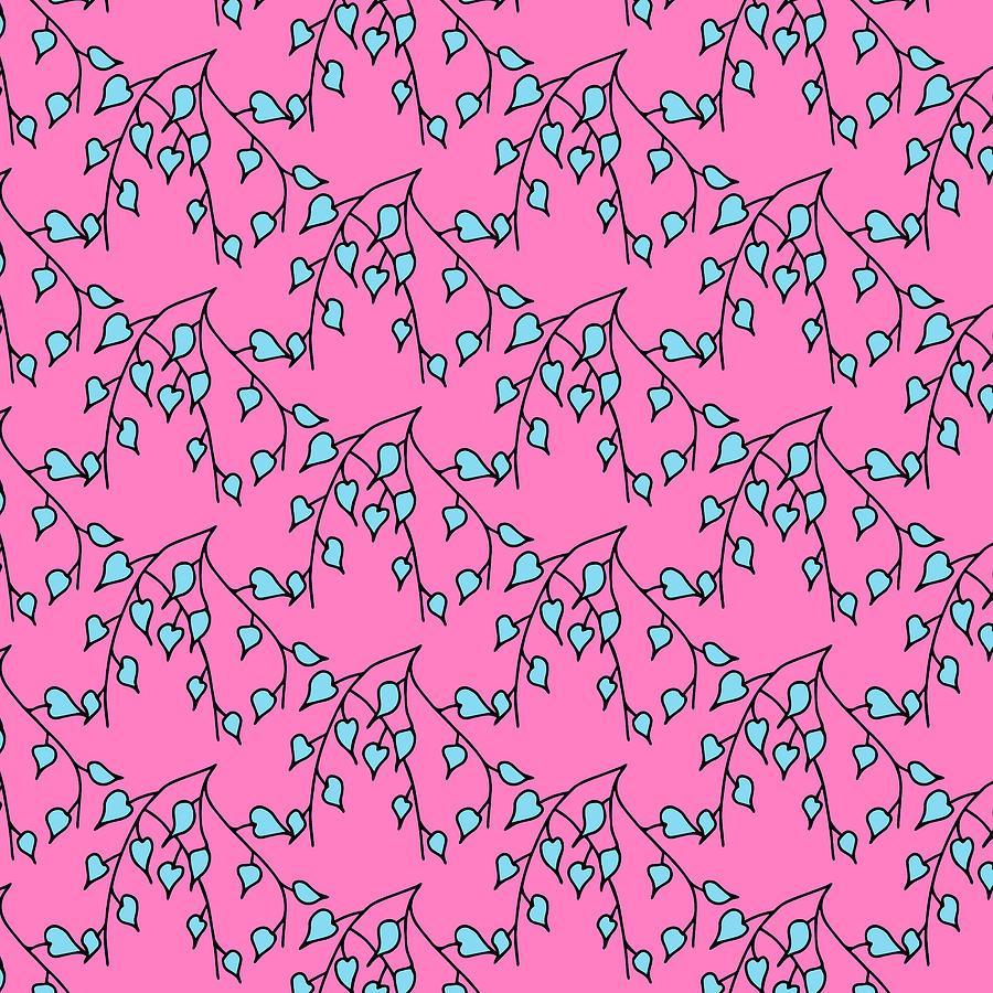 Illustrator Digital Art - Leaves on pink by Konstantin Bibikov