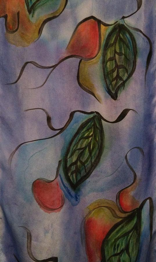 Leaves On Silk Painting by Evelyn Osgood