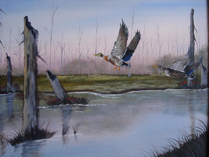 Mallard Painting - Leaving Home by Victor Kirkland