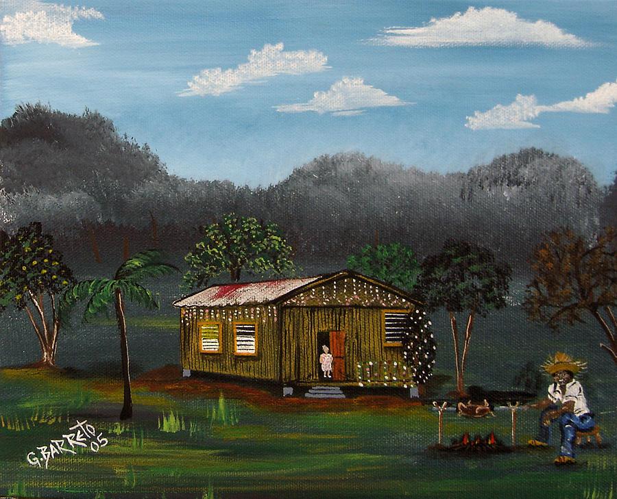 Pig Roasting Painting - Lecheon A La Bara by Gloria E Barreto-Rodriguez