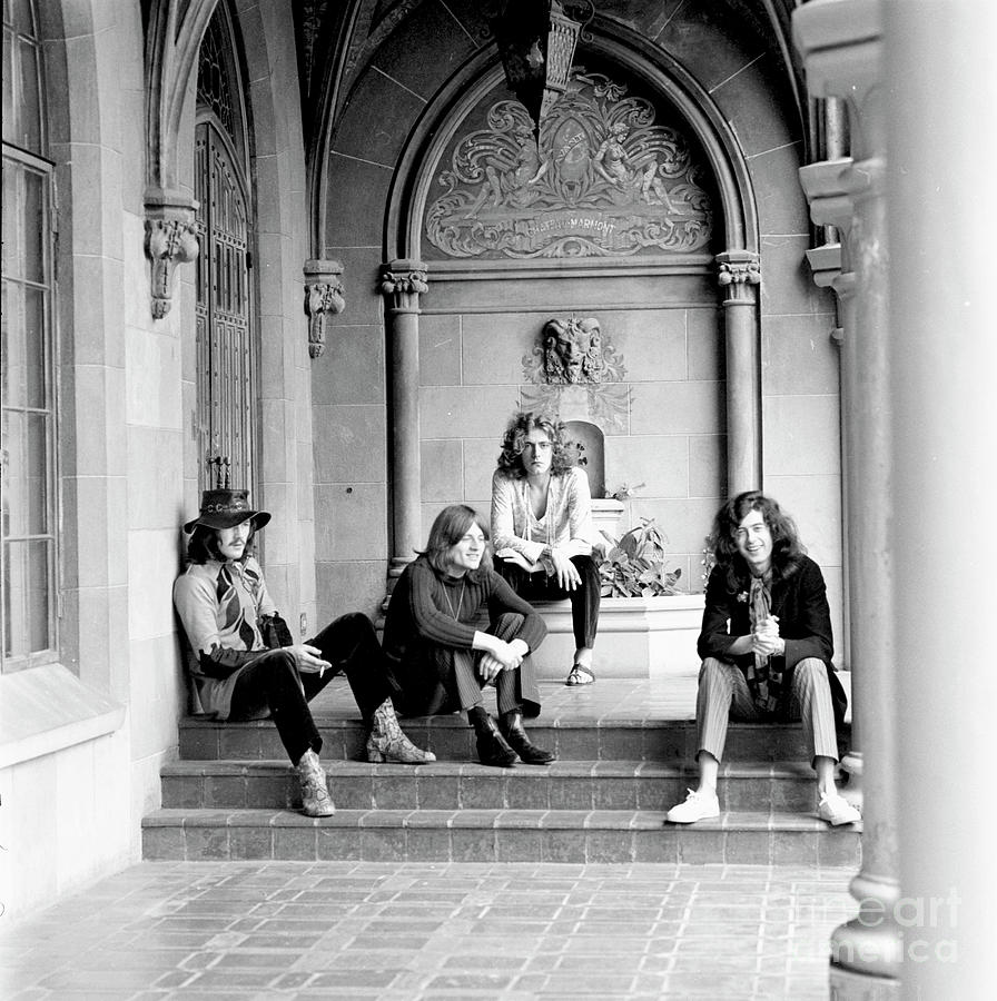 Led Zeppelin Sitting On The Steps Of The Chateau Marmont