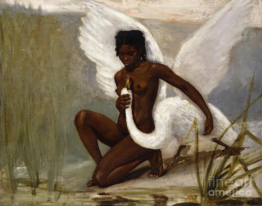 Leda Painting - Leda And The Swan by Henri Paul Motte