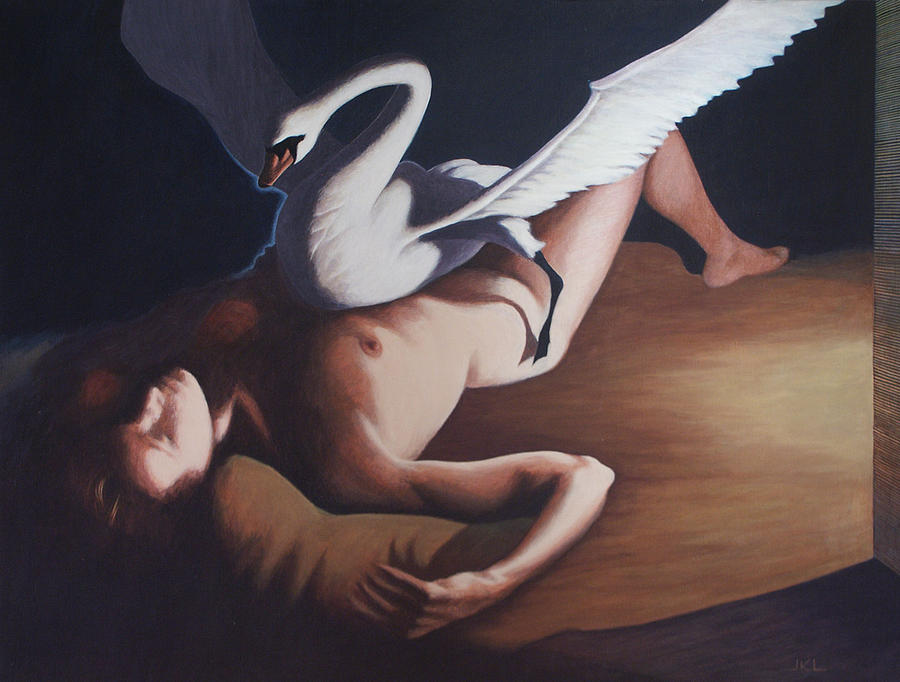 Swan Painting - Leda And The Swan by James LeGros