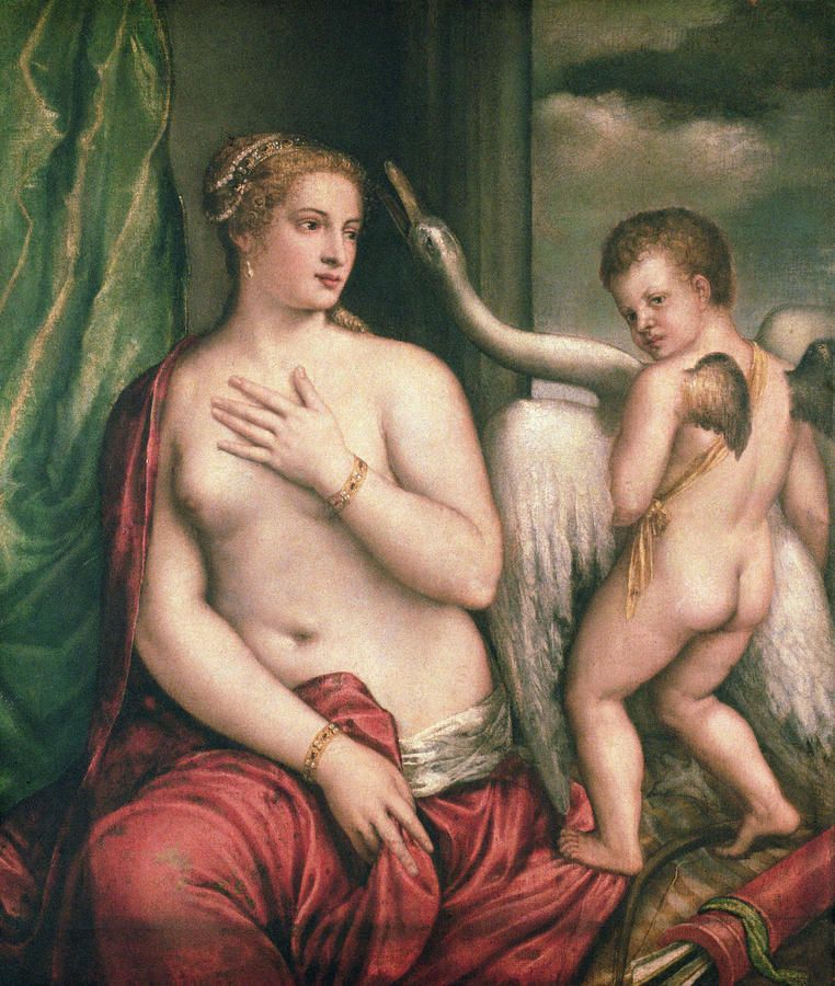 Image result for . Titian Leda and the Swan painting.