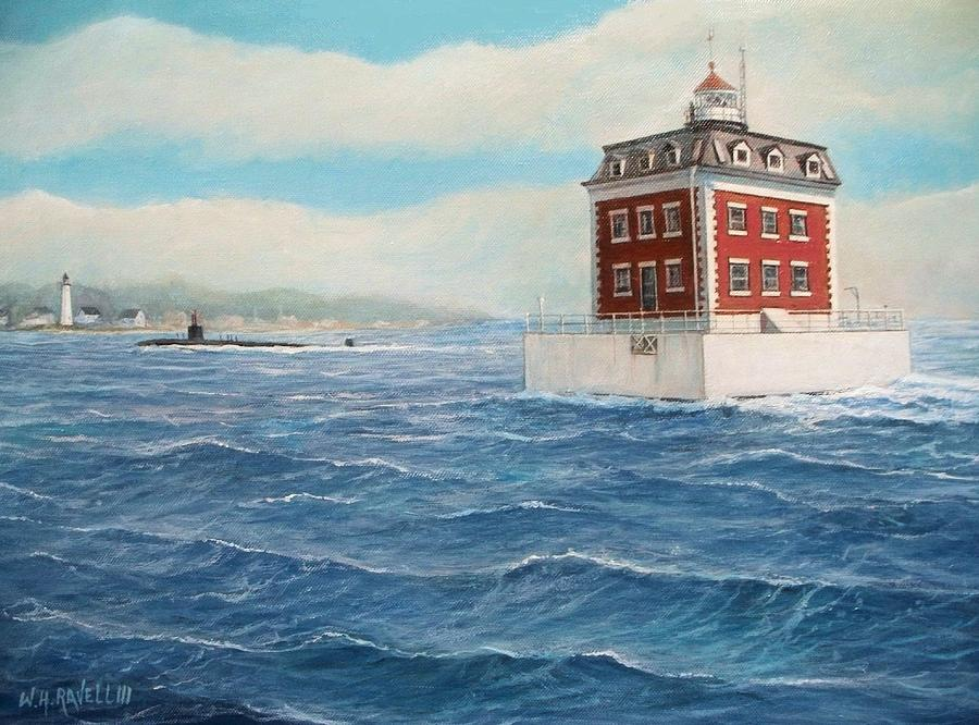 Lighthouse Painting - Ledge Lighthouse and submarine by William Ravell
