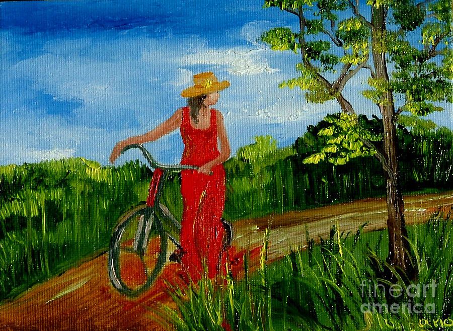 Girl Painting - Ledy With The Bike by Inna Montano
