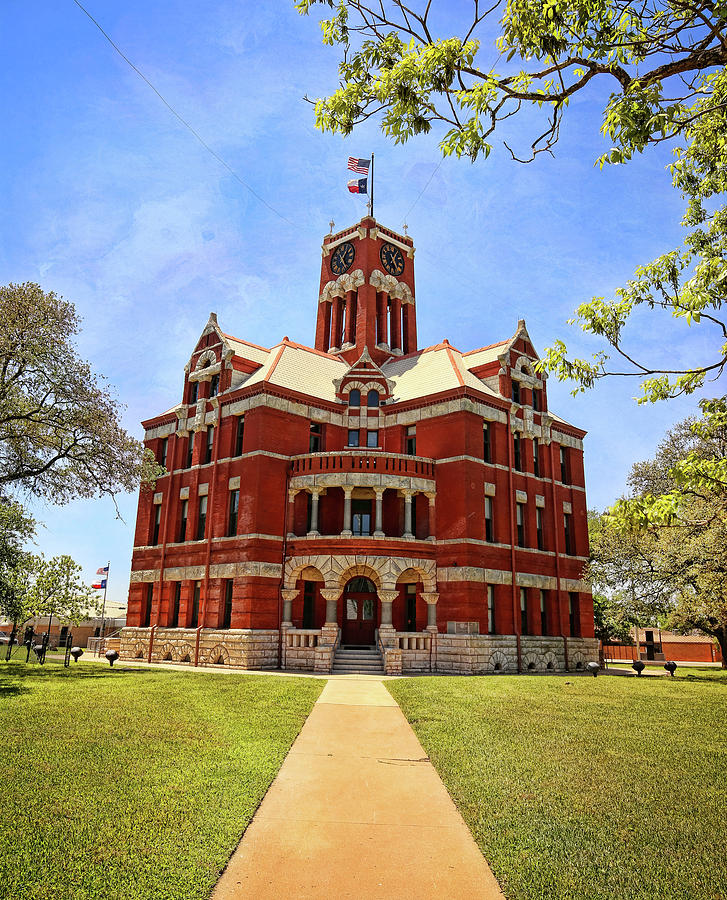 Lee County Courthouse Giddings Texas Vertical 1 by Judy Vincent