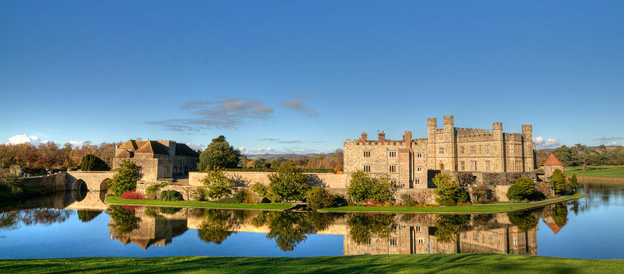 Leeds Castle Photograph - Leeds Castle And Moat Reflections by Chris Thaxter