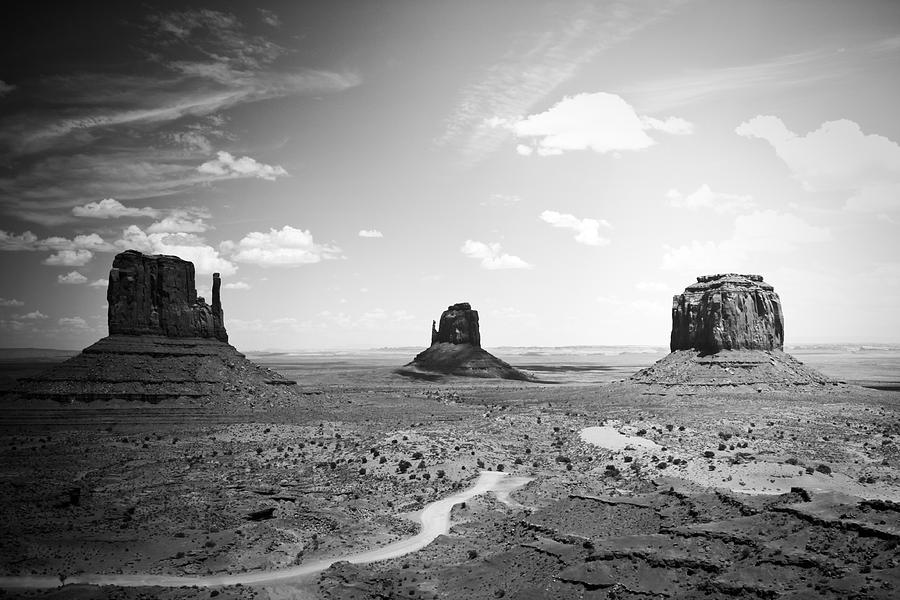 Black Photograph - Left And Right Mittens And Merrick Butte Black And White by Ryan Kelly