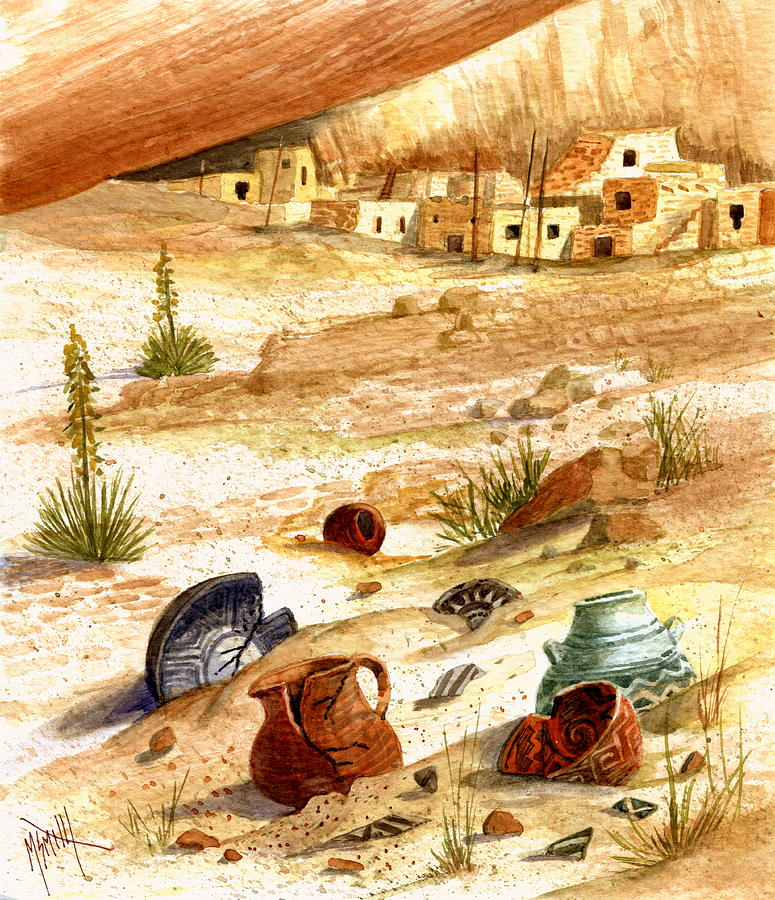Anasazi Painting - Left Behind - Indian Pottery by Marilyn Smith
