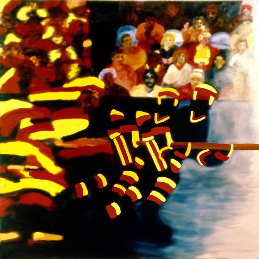 Hockey Painting - Left Wing by Ken Yackel