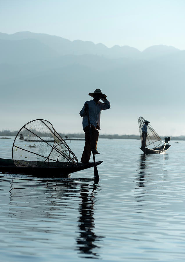 Leg-rowers, Inle Lake Photograph