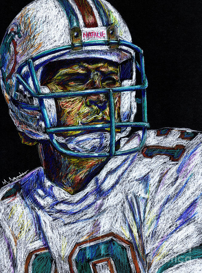 Dan Marino Drawing - Legend by Maria Arango