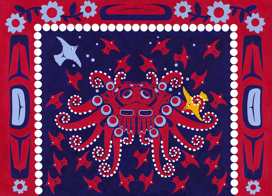 Native American Painting - Legend of Octopus Woman by Chholing Taha