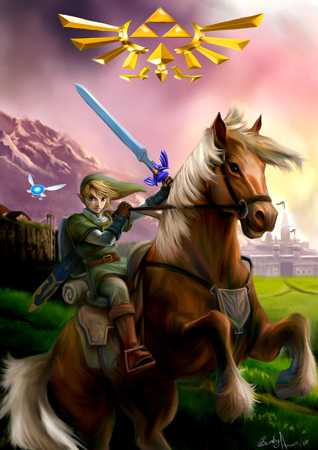 Legend Of Zelda- Link And Epona Painting by Becky Herrera