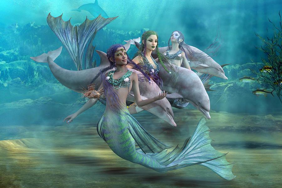 Mermaid Digital Art - Legends by Betsy Knapp
