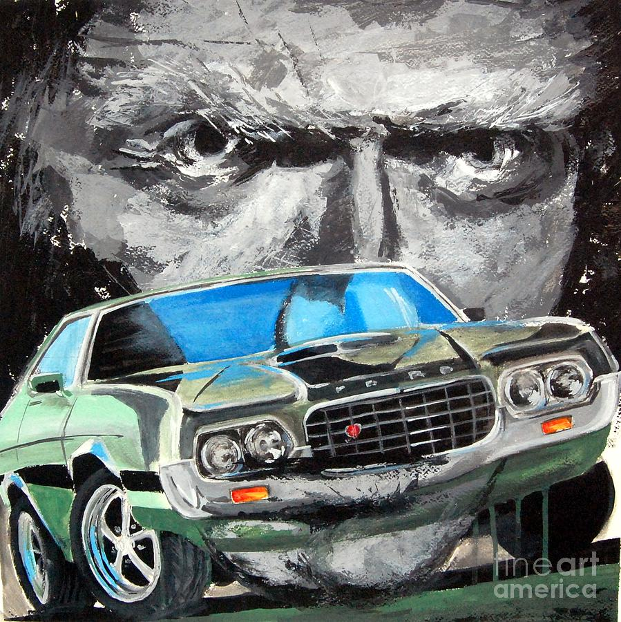 Legends - Ford Gran Torino And Clint Eastwood Painting by