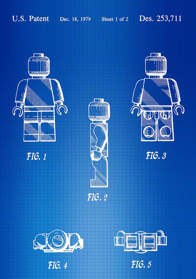 Lego man blueprint patent photograph by brooke roby lego photograph lego man blueprint patent by brooke roby malvernweather Images