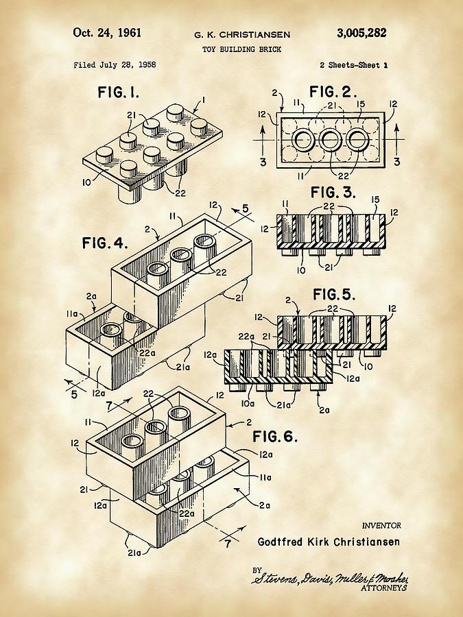 Lego Digital Art - Lego Patent 1958 - Vintage by Stephen Younts