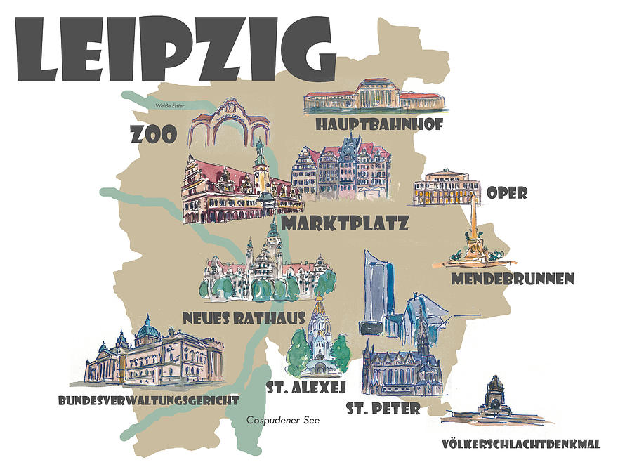 Leipzig Germany Touristic Favorites Map Of Highlights Mixed Media