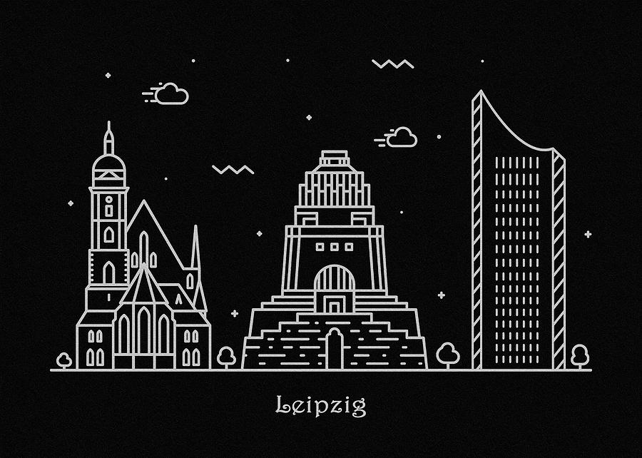 Leipzig Skyline Travel Poster Drawing By Inspirowl Design