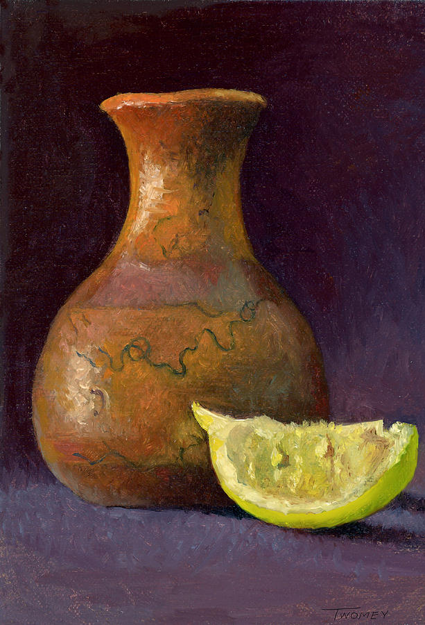 Still Life Painting - Lemon and Horsehair Vase A First Meeting by Catherine Twomey