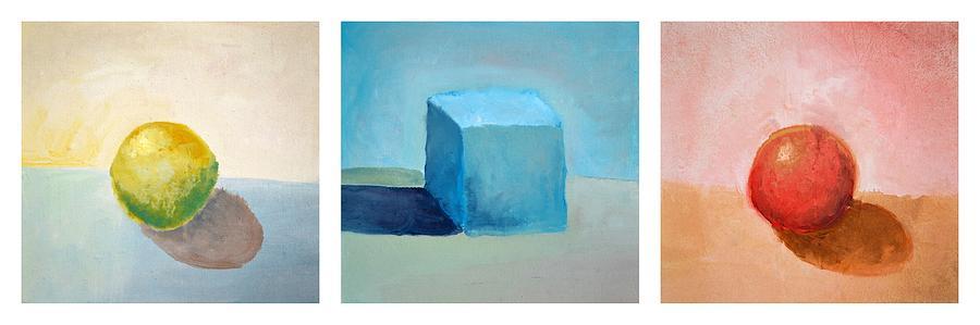 Lemon Painting - Lemon Cube Sphere by Michelle Calkins