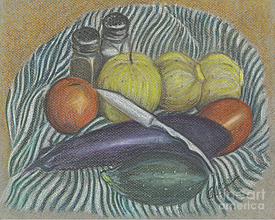 Harvest Drawing - Lemon Cucumbers by Carol Wisniewski