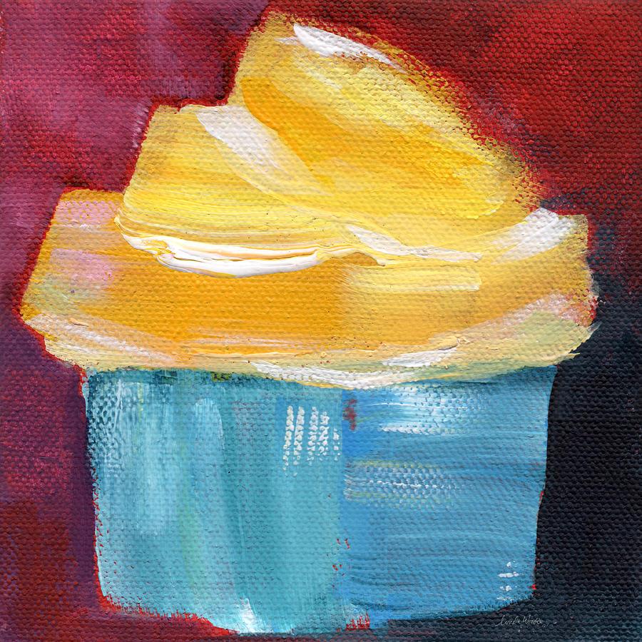 Cupcake Painting - Lemon Cupcake- Art By Linda Woods by Linda Woods