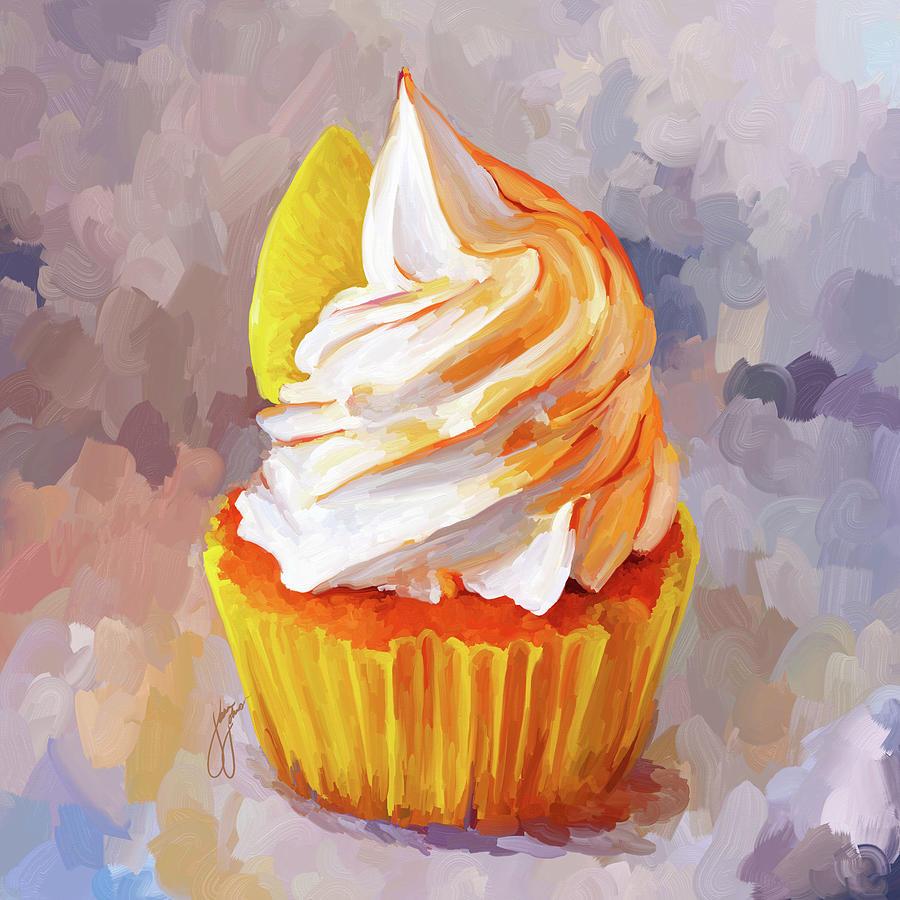 Lemon Cupcake Painting by Jai Johnson