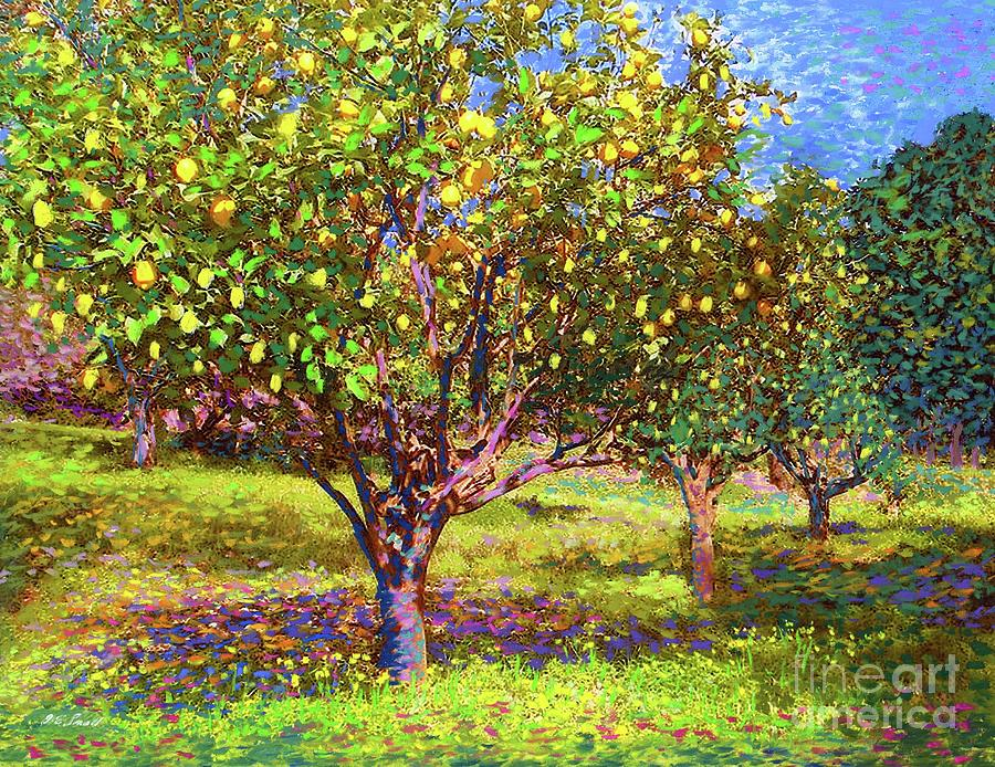 Tree Painting - Lemon Grove of Citrus Fruit Trees by Jane Small