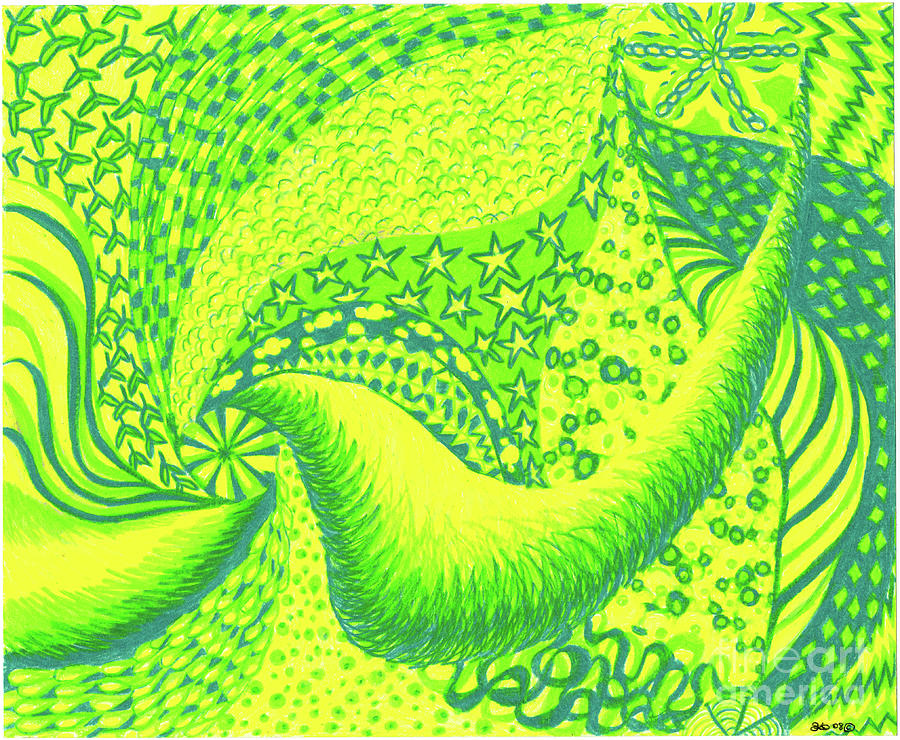 Abstract Drawing - Lemon Lime by Kim Sy Ok