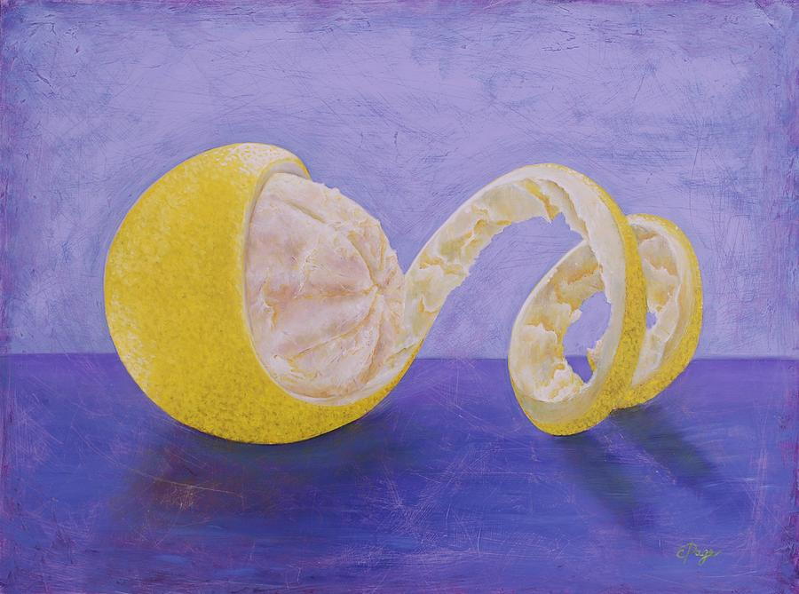 Lemon Painting - Lemon Peel Twist by Emily Page
