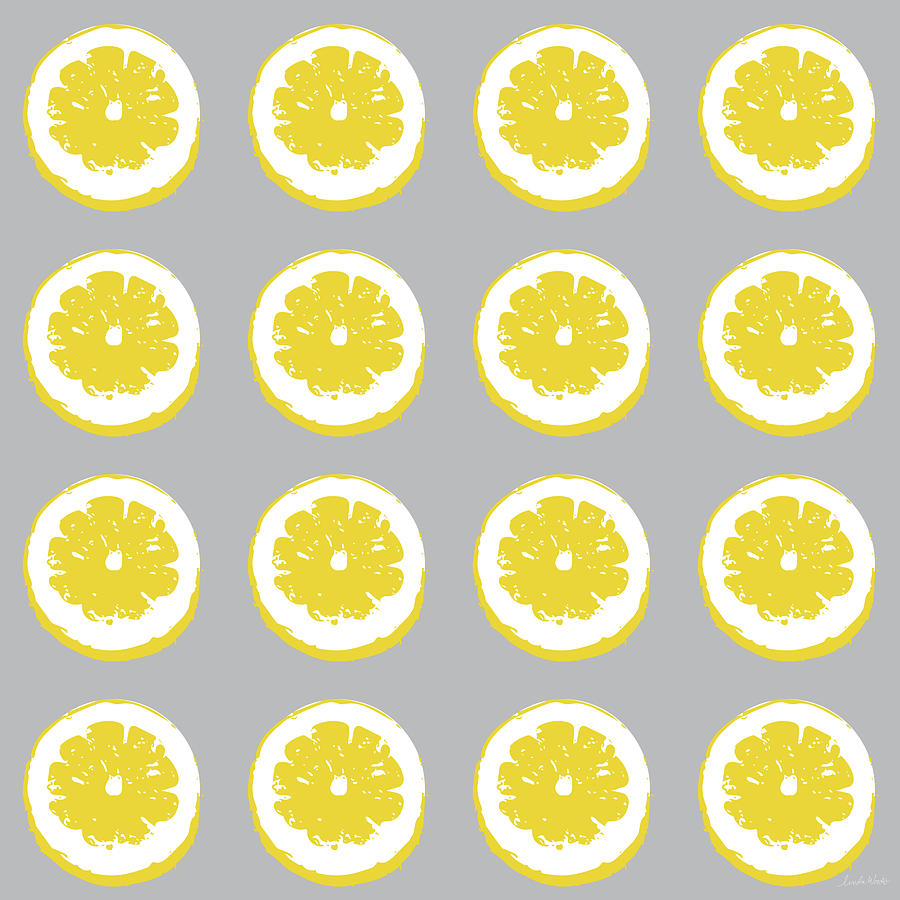 Lemons Mixed Media - Lemon Slices On Grey- Art By Linda Woods by Linda Woods