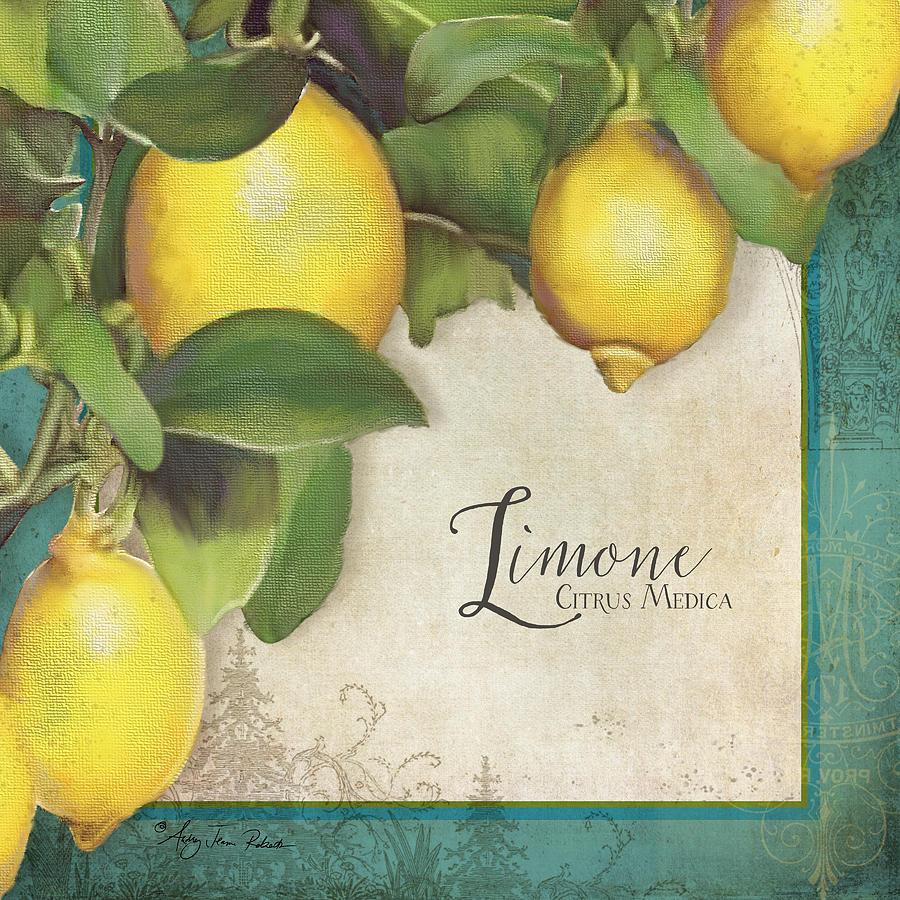 Lemons Painting - Lemon Tree - Limone Citrus Medica by Audrey Jeanne Roberts