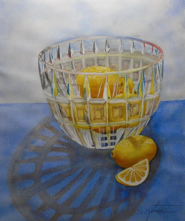 Still Life Painting - Lemons and Crystal by Sandra Stone