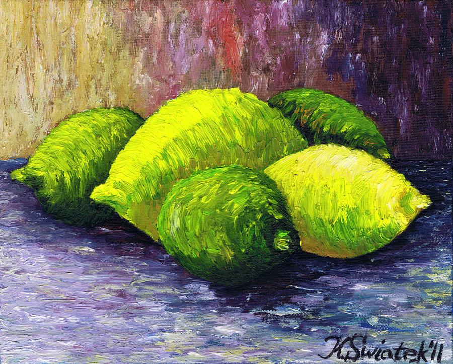 Lemons Painting - Lemons And Limes by Kamil Swiatek