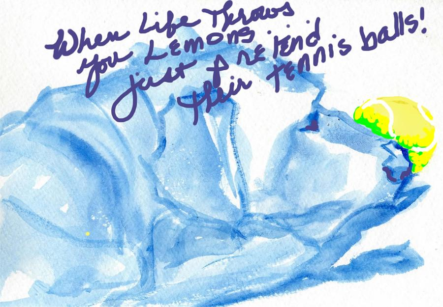 Labrador Drawing - Lemons And Tennis Balls by Sheila Wedegis