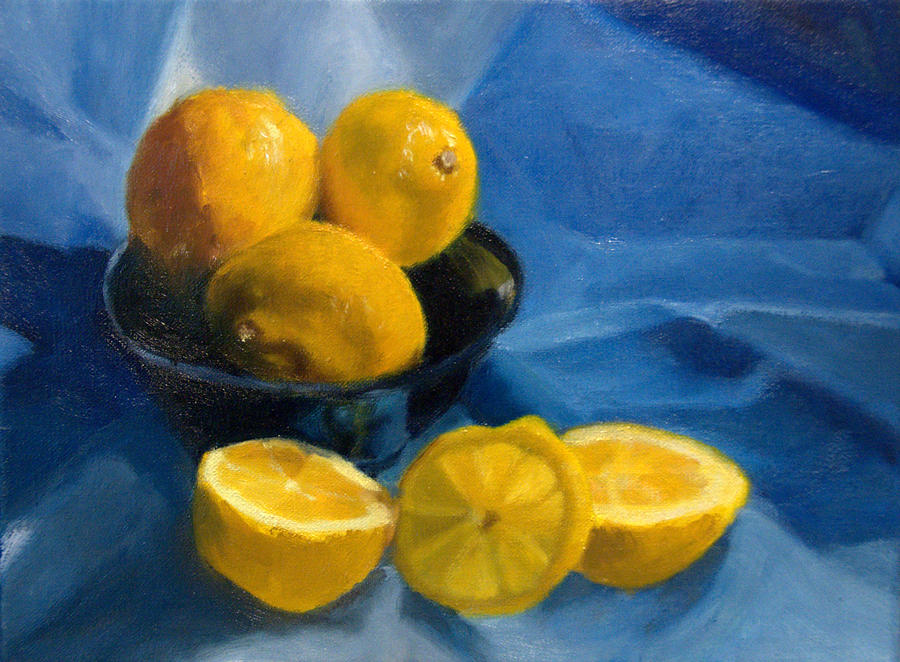 Still Life Painting Painting - Lemons In Blue Bowl by Stephanie Allison